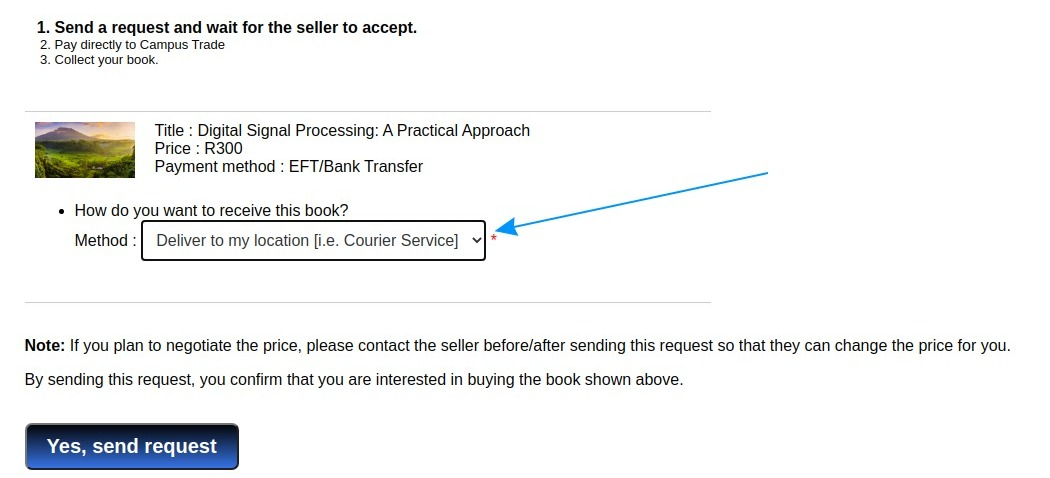Step 1 of 3, Sending a buy request on Campus Trade